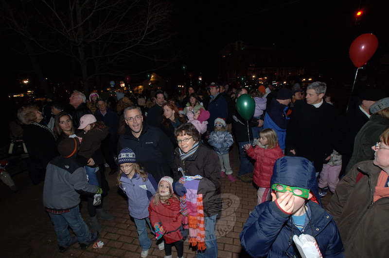 Sandy Hook Center drew about 400 residents, according to one organizer, for its tree lighting on Saturday, December 4.  (Bobowick photo)