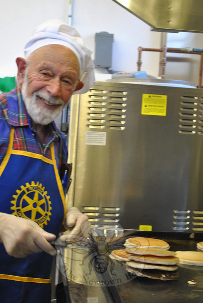 Dr Robert Grossman has been putting aside his medical bag and putting on a chef's hat for the Rotary Club's Annual Pancake Breakfast for many years.  (Crevier photo)