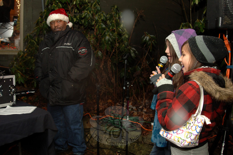 DJ Gary Shipp provided opportunities for visitors to enjoy karaoke during the hour before the Sandy Hook Tree Lighting on December 5.  (Bobowick photo)