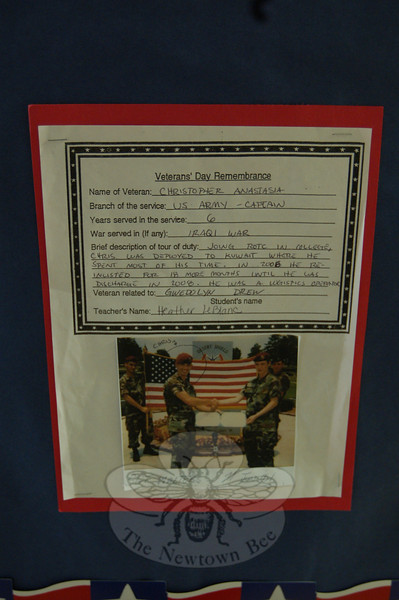 "A ""Veterans Day Remembrance"" wall was on display at Middle Gate School for Wednesday, November 11, with photos and descriptions submitted by students. (Hallabeck photo)"