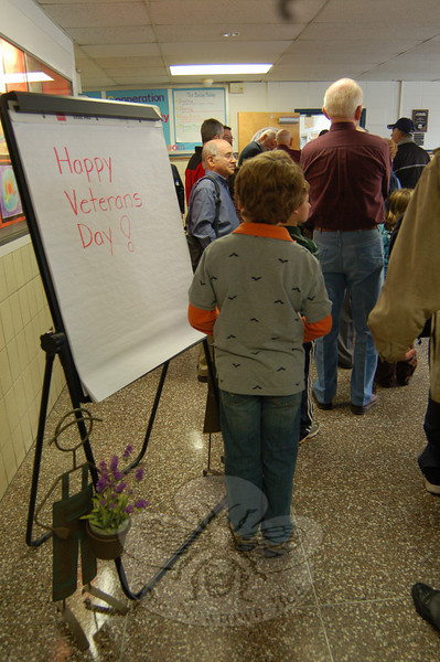 A sign welcomed visitors to Sandy Hook School for the Veterans' Day Breakfast held on Wednesday, November 11. (Hallabeck photo)
