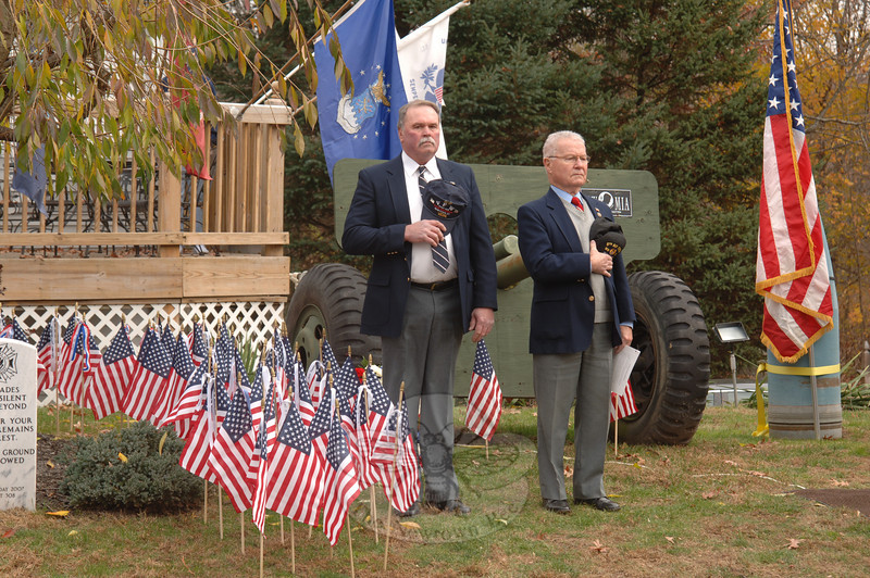 VFW Post 308 Senior Vice Commander William Farley, left, beside veteran and First Selectman Joe Borst during the post's Veterans' Day ceremony.  (Bobowick photo)