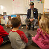 First Selectman Joseph Borst visited Robin Walker's second grade classroom on Veteran's Day, Wednesday, November 11, just before the school's Veterans Day Breakfast began.   (Hallabeck photo)