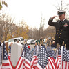 Chief Petty Officer Daniel Kearns offered a salute on Veterans' Day to those who have sacrificed for their country in ceremonies at the Veterans of Foreign Wars Post 308 on November 11.  (Bobowick photo)