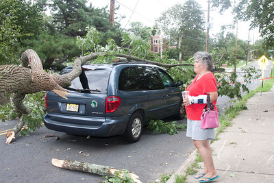 (1) Pslip Slug #: 85546; (2) Various Locations in Ridgewood, NJ; (3) 08/28/2011; (4) Ridgewood Survives Hurrican Irene Soggy But Essentially Intact; (5) A shaken Lisa Bates  observes the tree that struck her vehicle as she drove eastbound on Ridgewood Avenue on 8/28/2011 ; (6) W.H. Grae for the Ridgewood News.