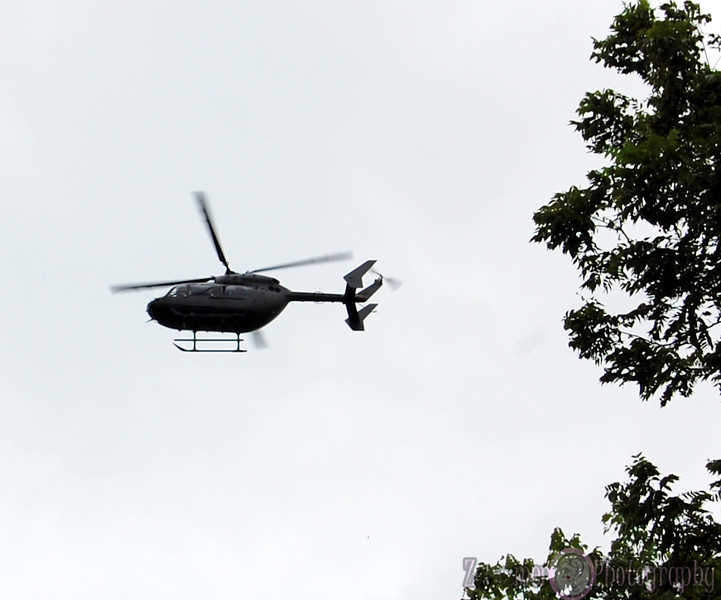 National Guard hovering overhead...