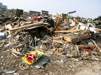 Many children toys are among the debris.