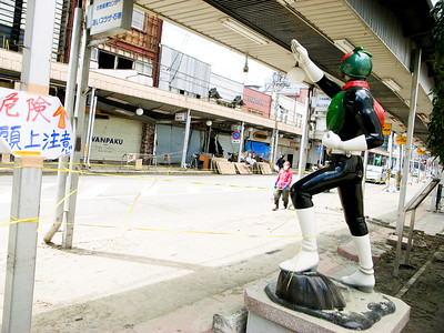 Ishinomaki is famous for Manga, and many Manga statues stand along the streets.