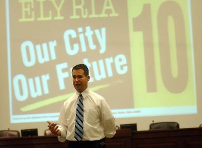 Mayor Bill Grace talks at a meeting on Issue 10 at Elyria City Council Oct. 7.   Steve Manheim