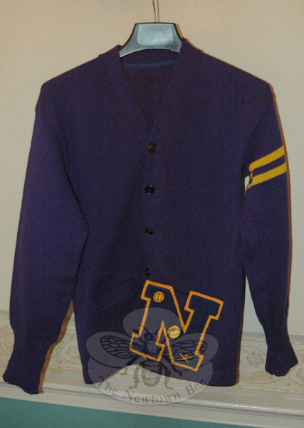 A school sweater was among the memorabilia displayed during the Hawley School reunion.
