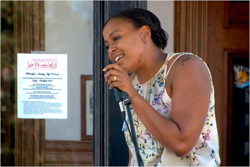 """Candidate for state representative Nika Elugardo performs at the """"Politicians Porch."""""""