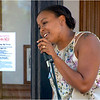 "Candidate for state representative Nika Elugardo performs at the ""Politicians Porch."""