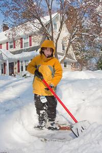 (1) Pslip Slug #: (Pending); (2) Ridgewood, NJ; (3) 01/12/2011; (4) Ridgewood Responds to Another Snow Storm; (5) Jason clears the stairs on 1/12/2011; (6) W.H. Grae for the Ridgewood News.