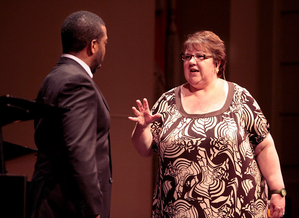 Soprano Jane Eaglen coaches Sidney Outlaw of the Merola Opera Program in a public master class at the Herbst Theatre in San Francisco on Thursday, July 8th,  2010.