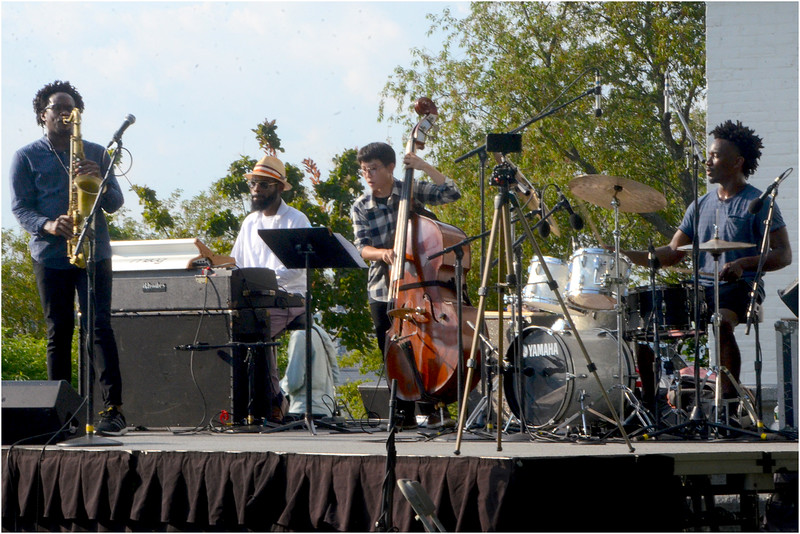 """From """"Jazz at the Fort"""" concert at Highland Park Roxbury August 5, 2018. Performance by the Gregory Groover Negro Spiritual Project: (from left to right): Gregory Groover, Jr., Jesse Tate, Seulgi Hwang and Jharis Yokley."""