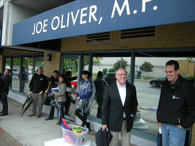 Steelworkers rally outside Joe Oliver's office