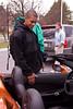 Churchill basketball star Chase Hicks examines the hybrid Corvette.