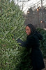 Rayvin Huger of Avenel (Potomac) picks out her tree at the Cabin John Park Fire House.