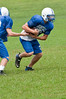 #3 takes the handoff from #32 (QB)