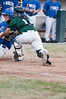 Catcher Mason Morioka tags out the runner to preserve Big Trains one run lead.