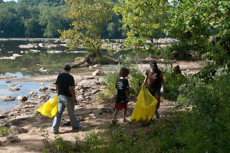 Cleanup along the bank of the Potomac River.