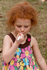 Ingrid Boshoff (5 years old) takes enjoys the food.