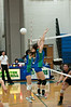 Wendy Zhao (closer) and Kristie Moy of Churchill try unsuccessfully to block the shot.