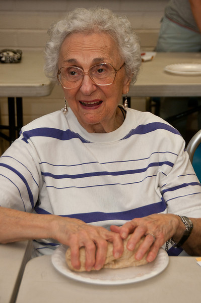 Helen Traiman of Rockville kneeds dough too.  Helen is 85 years old.  The age of the participants in this baking class ranged from 2 years old to 85.