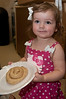 Emily Burgdorf, 2 years old from Bethesda, is having fun playing with the dough.