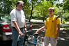 Conor Quigley (14 years old) happily accepts the bike donation from Mike Tuckman.