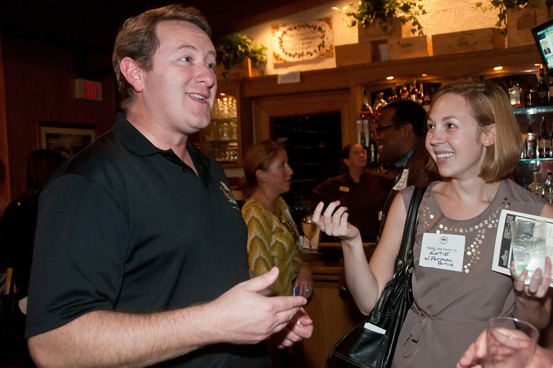 Adam Greenberg, Presidnet of the Potomac Chamber of Commerce talks with Katie Griffith of Potomac Patch.