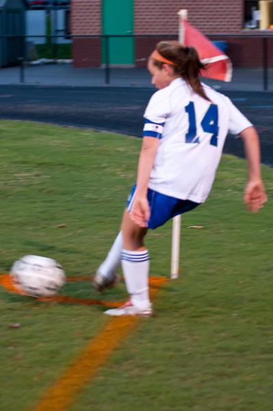 A corner kick for Zoe Fosster