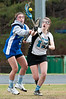 Ping Ni of Churchill and Jenny Finley of Whitman fight for the loose ball.