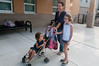 Seven year old Leah Guthrie arrives at Bells Mill Es with her 3 year old sister Daphne and her mother, Cristina.
