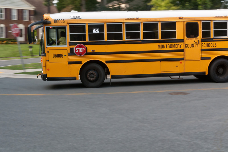 School buses bring the students to Bells Mill ES.