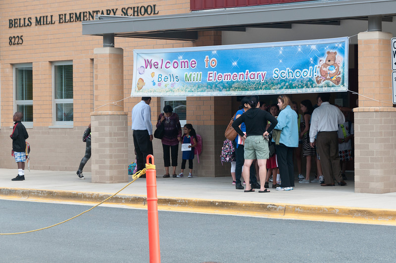 Arriving students at Bells Mill ES wait for the school day to begin.