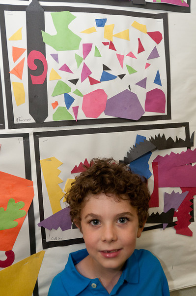 "Thomas Hatchett, 5 years old, with his ""Matisse Cutout"""