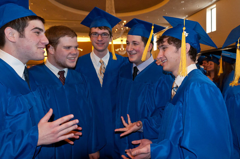 Jonathan Reich, Noah Berman, Adam Weinberger, and Evan Szymkowicz relax befre the graduation ceremony.