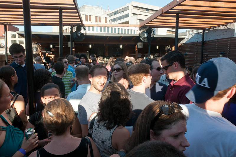 The crowd on the roof terrace