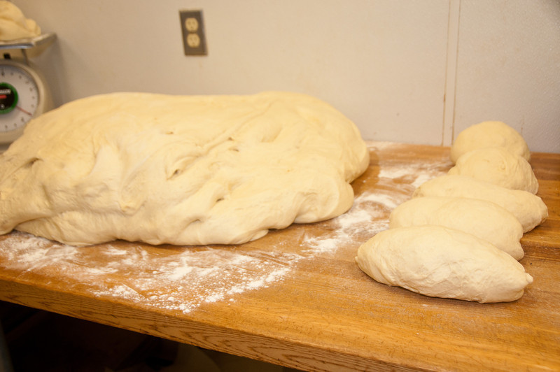Individual loaves are made from the 73 pound mass of dough.