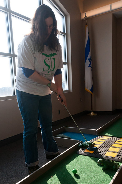"Rabbi Alana Suskin at the ""Challenge the Rabbi"" hole.  Rabbi Suskin is also the Director of the Lifelong Learning Center."