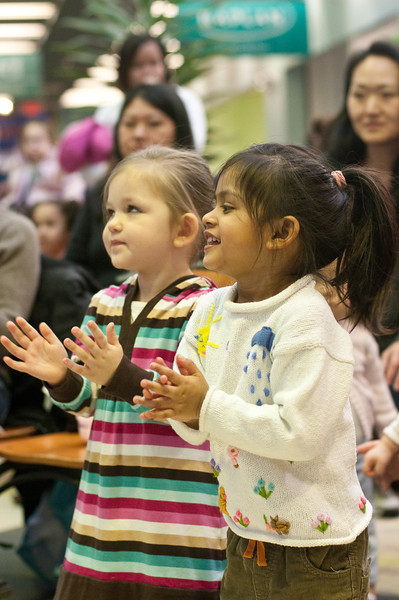 Friday morning Kids events at Cabin John Mall.  Neely Shemony and Zaara Ahmed get into the spirit of the music..
