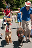 "July 4th at River Falls: Jill Phillips of ""Squeals on Wheels"" with Alpaca ""Teddy"" and minature horse "" ""Captain Jack Sparrow"""