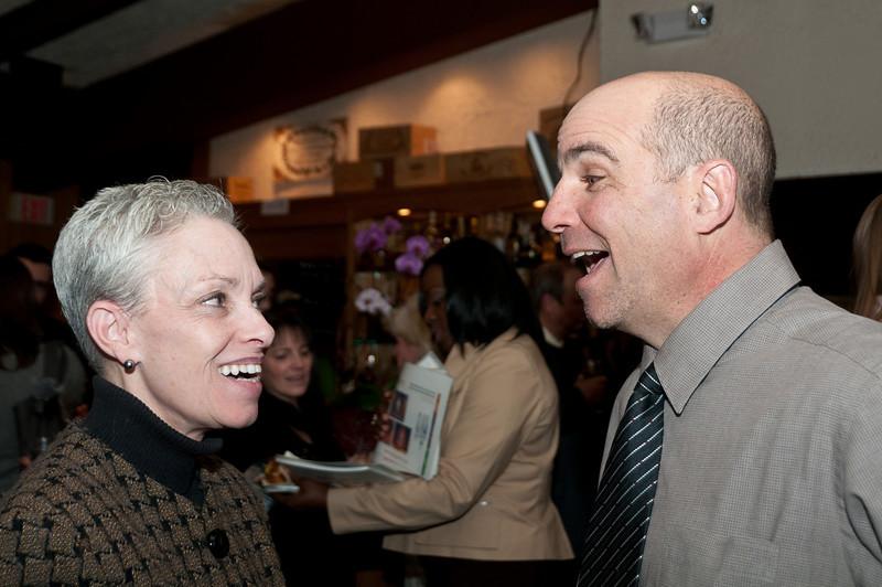 Ellen Maltz (M&T Bank) enjoys a laugh with Michael Lerner of Meridian Homes
