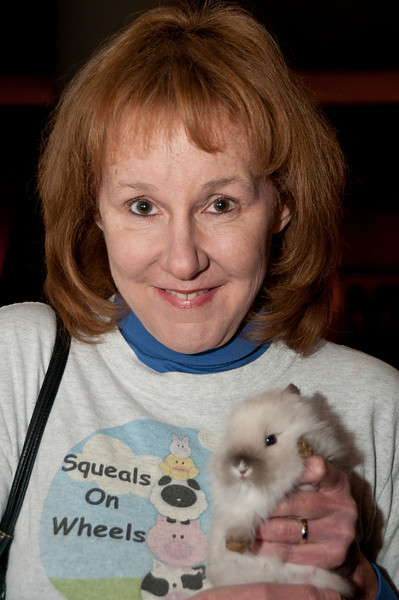 """Jill Phillips of Squeals on Wheels and her rabbit """"Nala"""""""