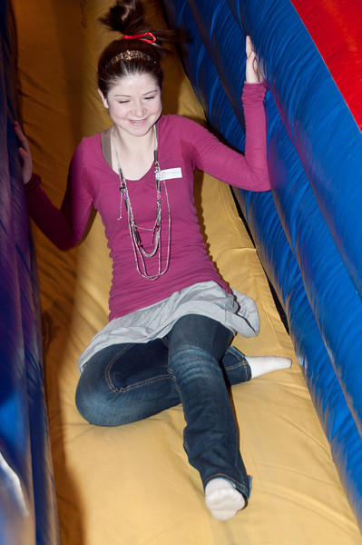 Fourteen-year old Leah Schiff goes down the slide.