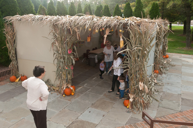 Phyllis Shankman (POC for the event) watches as the 2 year old kids emerge from the sukkah.