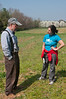 Nick Maravell, long-time renter of the farm on Brickyard Rd., talks with Elizabeth Levien, a volunteer and a teacher at Blair HS in Silver Spring.