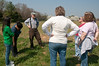 Volunteers came to tour the organic farm and hear about orgainic farming from Nick Maravell (back with suspenders).