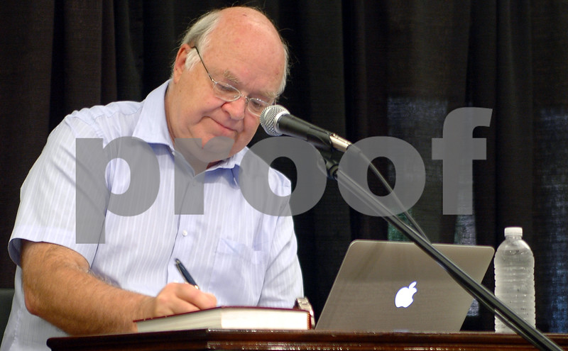 Christian apologist John Lennox takes questions at a conference on creation in Birmingham, Alabama.